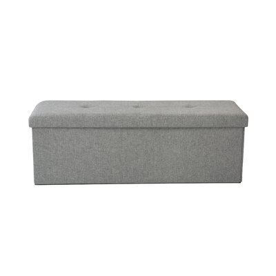 Faux Linen Triple Folding Storage Ottoman Upholstery: Gray