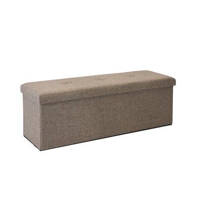 Faux Linen Triple Folding Storage Ottoman Upholstery: Natural