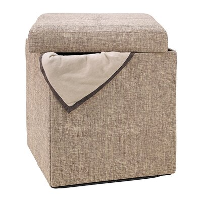 Bessey Natural Single Folding Storage Cube Ottoman