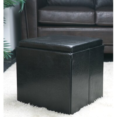 Folding Storage Cube Ottoman Upholstery: Black