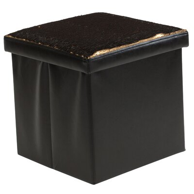 Folding Storage Ottoman Upholstery: Black