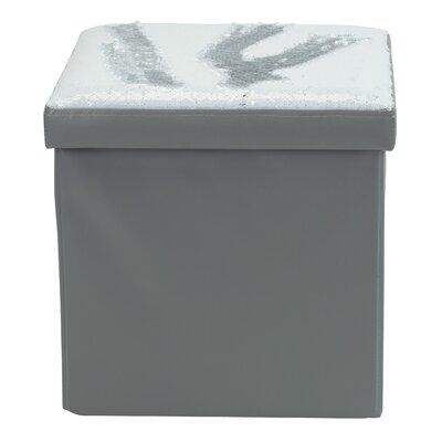 Folding Storage Ottoman Upholstery: White