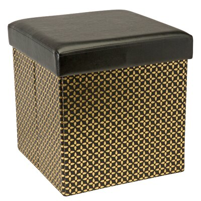 Wexler Metallic Collapsible Storage Ottoman Upholstery: Black