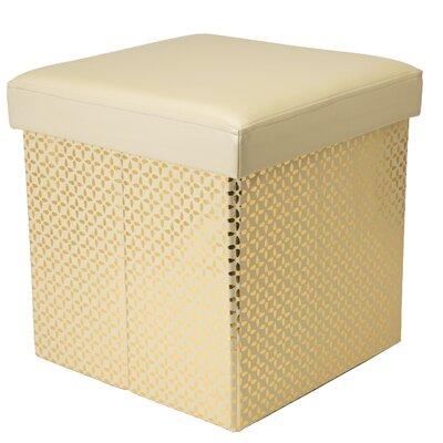Wexler Metallic Collapsible Storage Ottoman Upholstery: Ivory