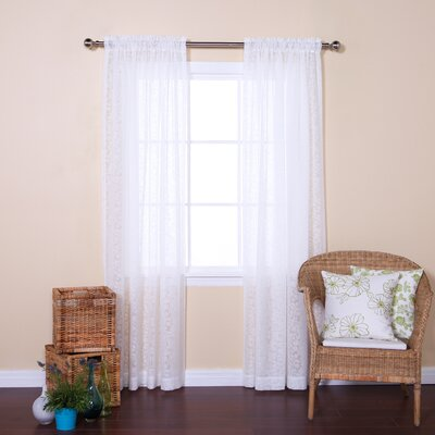 Vintage Leaves Burnout Sheer Rod Pocket Curtain Panels Color: White