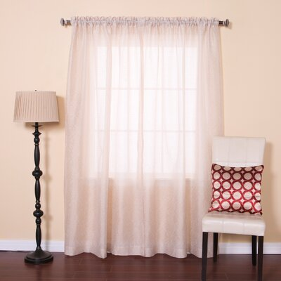 Venice Sheer Damask Rod Pocket Curtain Panels Color: Ivory