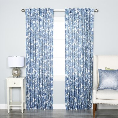 Blue Paisley Rod Pocket Curtain Panels
