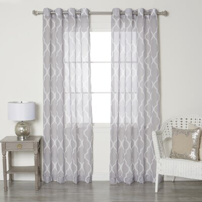 Moroccan Grommet Top Sheer Curtain Panels Color: Gray
