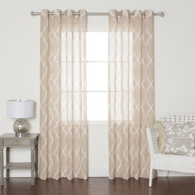Moroccan Grommet Top Sheer Curtain Panels Color: Taupe