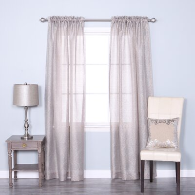 Venice Sheer Damask Rod Pocket Curtain Panels Color: Gray