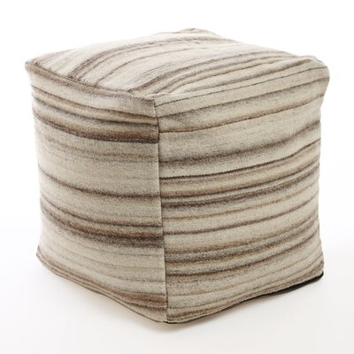 Marble Striped Pouf  Ottoman Upholstery: Cream