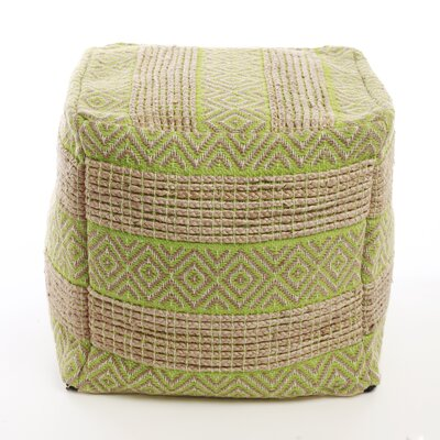 Decorative Diamond and Stripe Pattern Pouf Ottoman Upholstery: Green