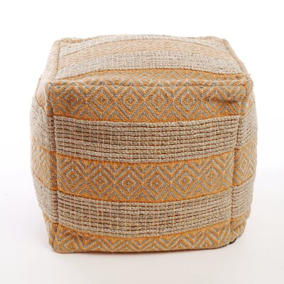 Decorative Diamond and Stripe Pattern Pouf Ottoman Upholstery: Orange