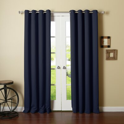 Best Home Fashion, Inc. Solid Grommet Top Thermal Insulated Blackout Curtain Panels (Set of 2) - Color: Navy Size: 120