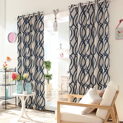 Wave Room Grommet Top Room Darkening Curtain Panels