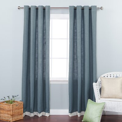 Bordered Heavyweight Grommet Top Curtain Panels