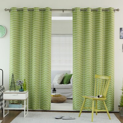 Chevron Grommet Top Room Darkening Thermal Curtain Panels