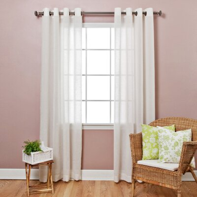 Faux Flax Linen Sheer Grommet Top Curtain Panels