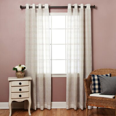 Plaid Sheer Faux Linen Grommet Top Curtain Panels