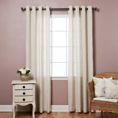 Faux Linen Grommet Top Curtain Panels