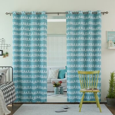 Doodle Print Grommet Top Room Darkening Thermal Curtain Panels