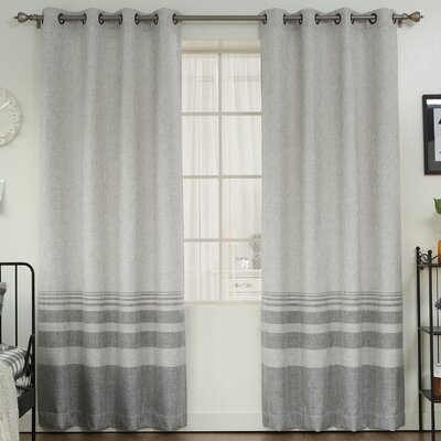 Striped Shimmer Grommet Top Curtain Panels Color: Gray
