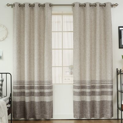 Striped Shimmer Grommet Top Curtain Panels Color: Chocolate