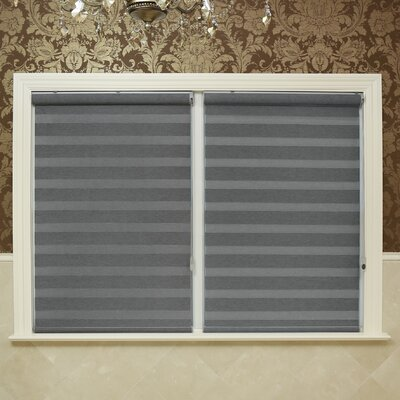 Premium Blackout Duo Roll-Up Shade Color: Gray, Size: 35