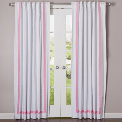 Grosgrain Ribbon Blackout Thermal Curtain Panels Color: Pink