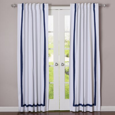 Grosgrain Ribbon Blackout Thermal Curtain Panels Color: Navy