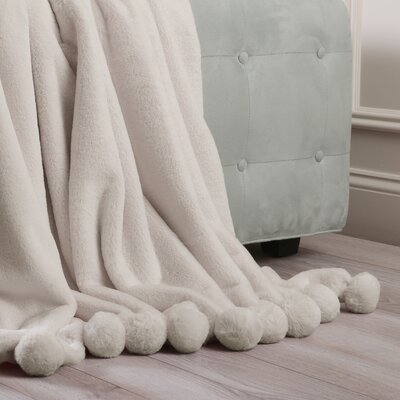 Luxe Faux Fur Pom Pom Throw Blanket and Pillow Set Color: Taupe