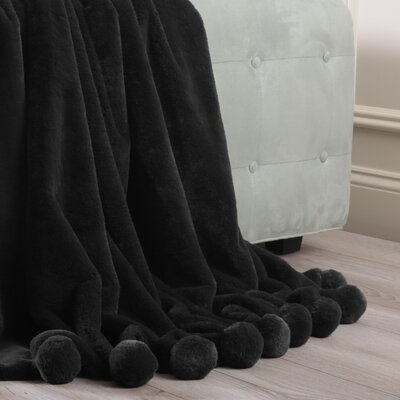 Luxe Faux Fur Pom Pom Throw Blanket and Pillow Set Color: Black