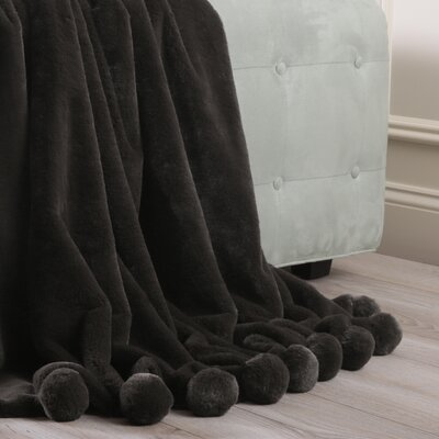 Luxe Faux Fur Pom Pom Throw Blanket and Pillow Set Color: Chocolate