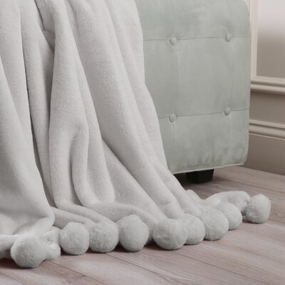 Luxe Faux Fur Pom Pom Throw Blanket and Pillow Set Color: Grey