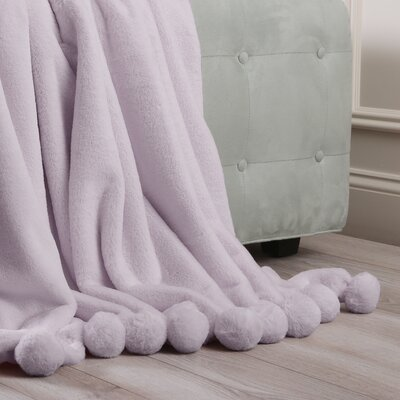 Luxe Faux Fur Pom Pom Throw Blanket and Pillow Set Color: Lavender