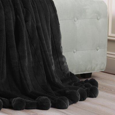 Luxe Mink Faux Fur Pom Pom Throw Blanket Color: Black