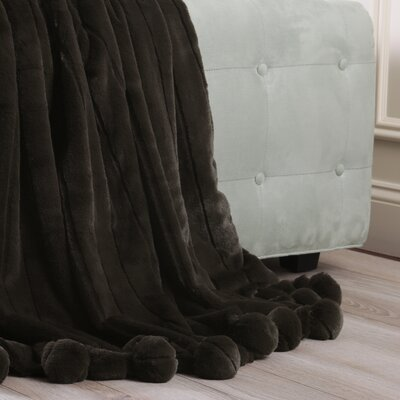 Luxe Mink Faux Fur Pom Pom Throw Blanket Color: Chocolate