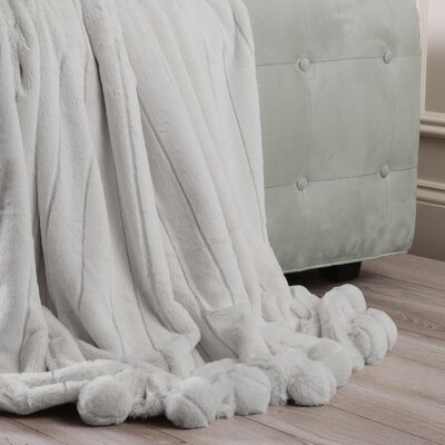 Luxe Mink Faux Fur Pom Pom Throw Blanket Color: Grey