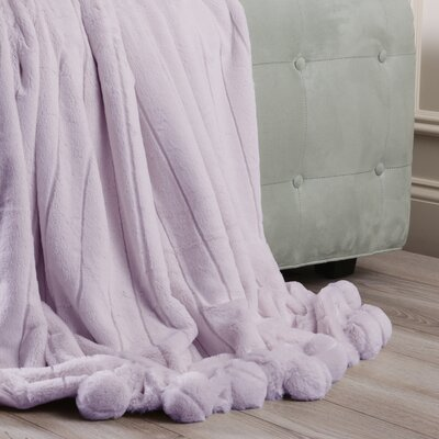 Luxe Mink Faux Fur Pom Pom Throw Blanket Color: Lavender