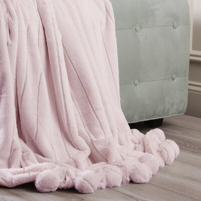 Luxe Mink Faux Fur Pom Pom Throw Blanket Color: Light Pink