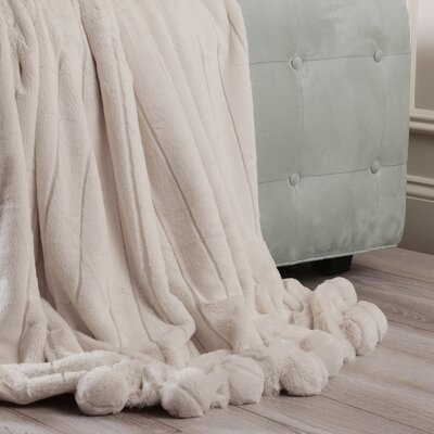 Luxe Mink Faux Fur Pom Pom Throw Blanket Color: Taupe