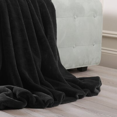 Luxe Faux Fur Throw Blanket and Pillow Set Color: Black, Size: 58 x 84