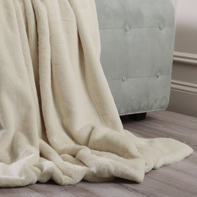 Luxe Faux Fur Throw Blanket and Pillow Set Color: Cream, Size: 58 x 60