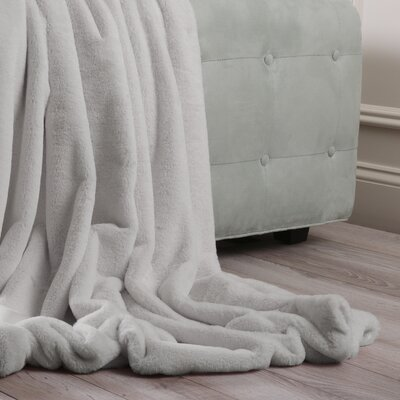 Luxe Faux Fur Throw Blanket and Pillow Set Color: Grey, Size: 58 x 60
