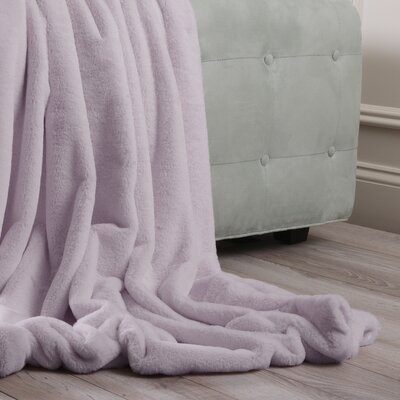 Luxe Faux Fur Throw Blanket and Pillow Set Color: Lavender, Size: 58 x 60