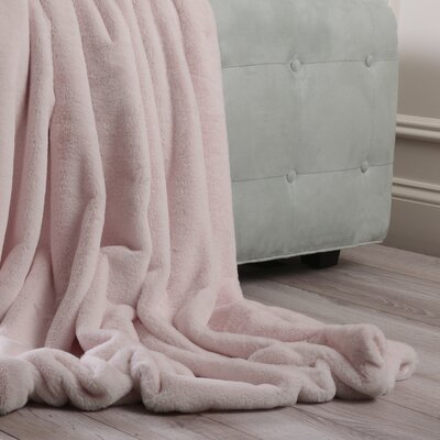 Luxe Faux Fur Throw Blanket and Pillow Set Color: Light Pink, Size: 58 x 60