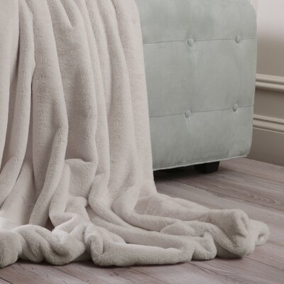 Luxe Faux Fur Throw Blanket and Pillow Set Color: Taupe, Size: 58 x 84