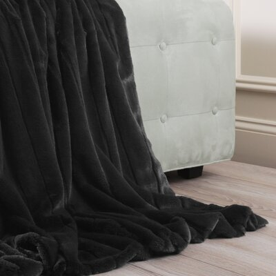 Luxe Mink Faux Fur Throw Blanket Color: Black, Size: 60 x 58