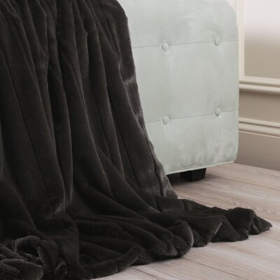 Luxe Mink Faux Fur Throw Blanket Color: Chocolate, Size: 60 x 58
