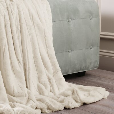 Luxe Mink Faux Fur Throw Blanket Color: Cream, Size: 60 x 58